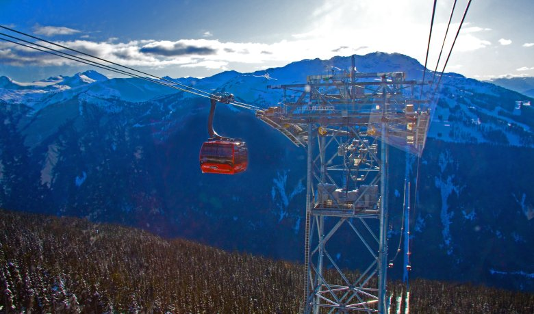 After a morning of skiing, take a scenic chairlift ride on Whistler's Peak 2 Peak gondola.
