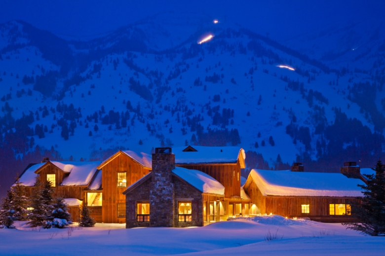 The cabins at Jackson's Shooting Star community offer shuttle service to the ski slopes.